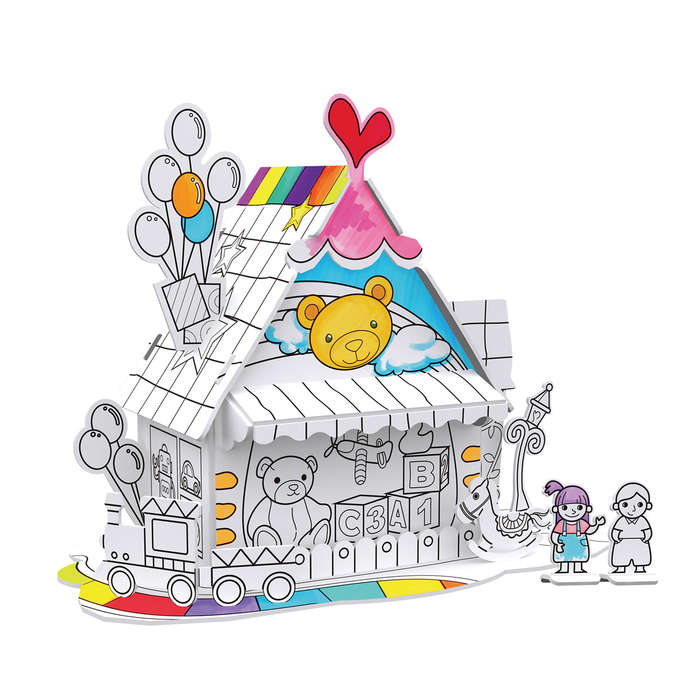 Toy House 3D Coloring Puzzle with Pens Carnival Jigsaw Puzzle