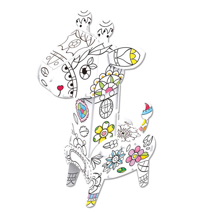 Giraffe 3D Coloring Puzzle with Pens