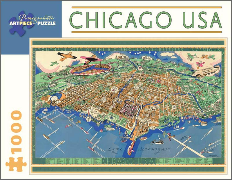 Chicago USA Map of the City 1931 Jigsaw Puzzle PuzzleWarehousecom