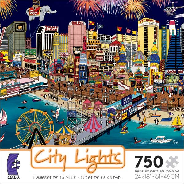 City Lights - Atlantic City Cartoons Jigsaw Puzzle