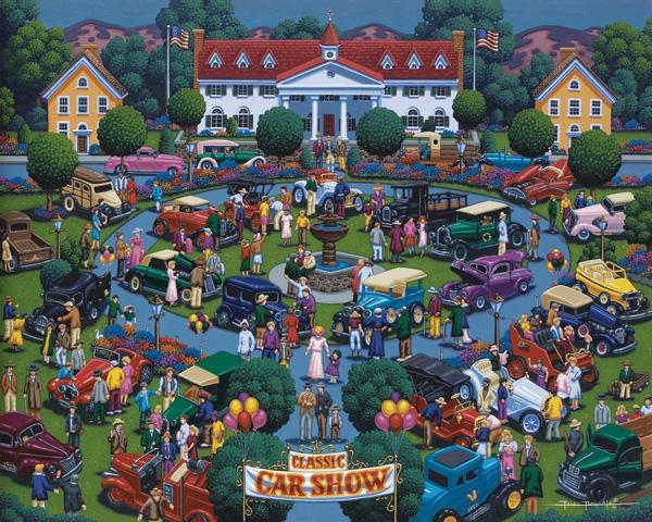 Classic Car Show Cars Jigsaw Puzzle