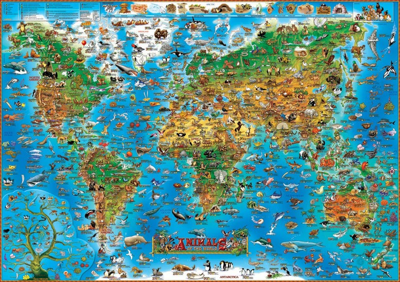 Animals of the world jigsaw puzzle puzzlewarehouse animals of the world maps geography jigsaw puzzle gumiabroncs