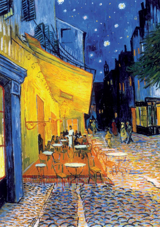 Café Terrace at Night Street Scene Jigsaw Puzzle