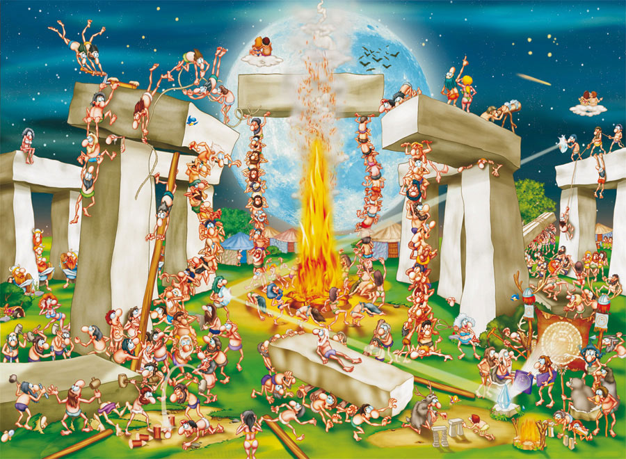 Building Stonehenge (Cartoon) - Scratch and Dent Landmarks / Monuments Jigsaw Puzzle