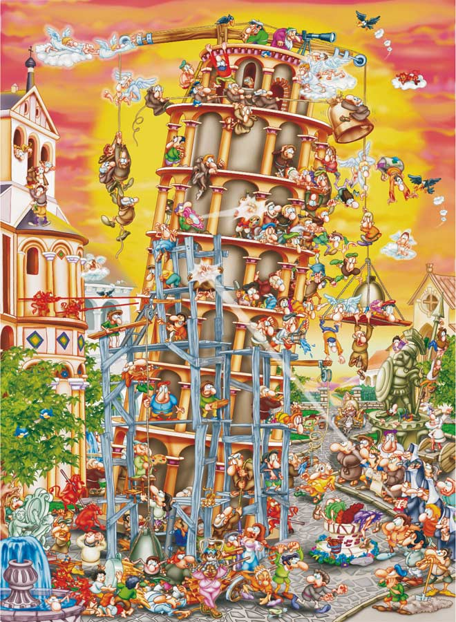 Building the Tower of Pisa Cartoons Jigsaw Puzzle