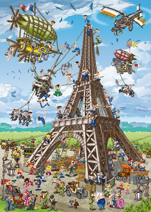 Building the Eiffel Tower Landmarks / Monuments Jigsaw Puzzle