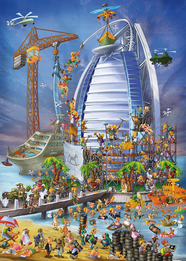 Building the Burj Al Arab Cartoons Jigsaw Puzzle