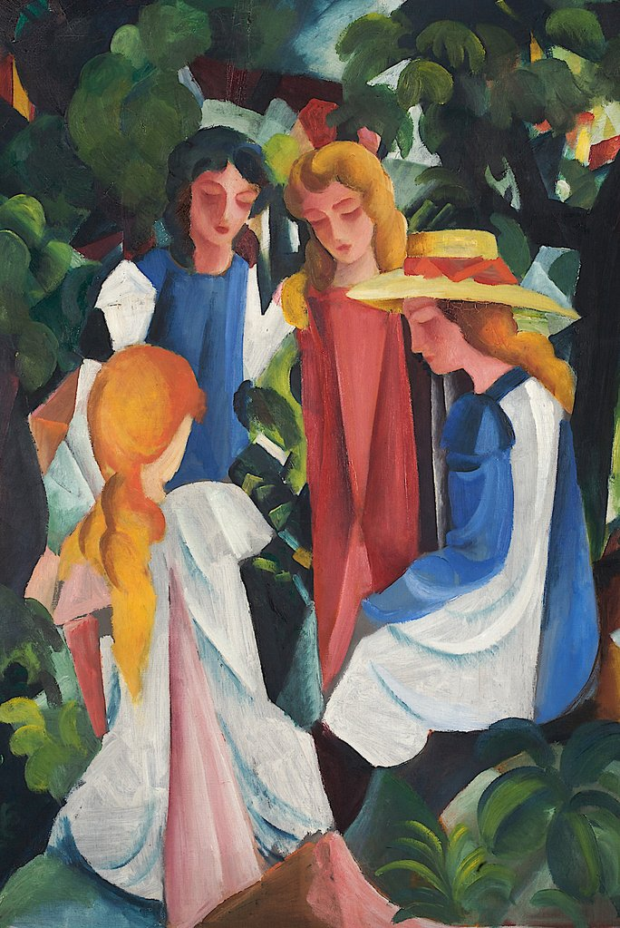 Four Girls by August Macke Fine Art