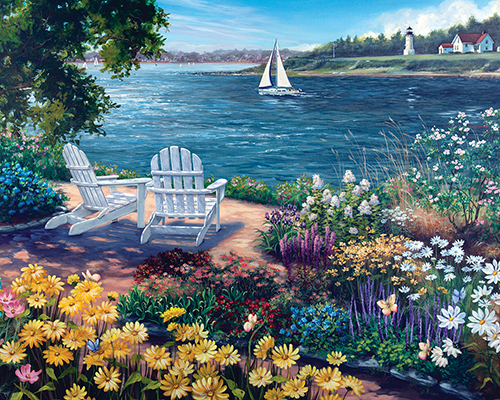 Garden by the Bay - Scratch and Dent Seascape / Coastal Living Jigsaw Puzzle
