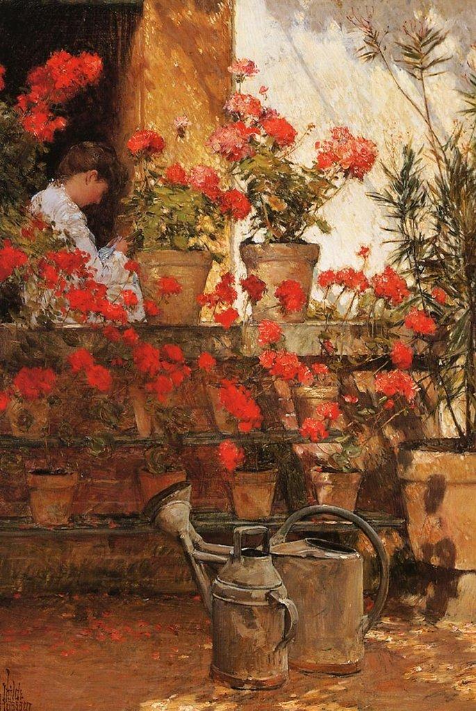 Geraniums by Childe Hassam Fine Art