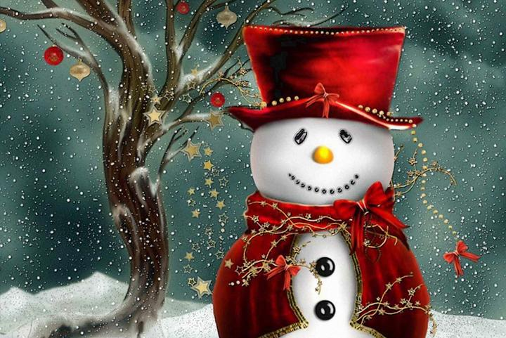 Happy Christmas Snowman Fine Art