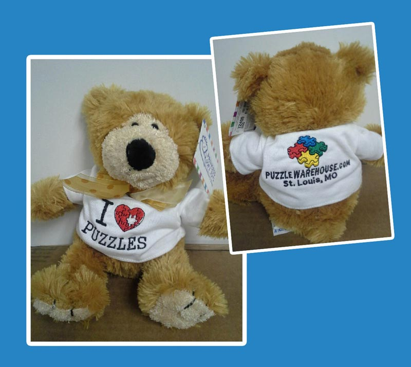 Teddy Bear with I Heart Puzzles T-shirt Novelty