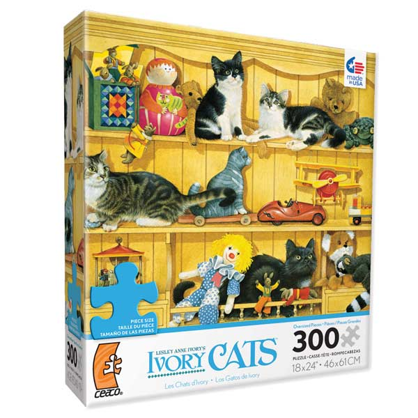 Ivory Cats - Kittens in the Toys Cats Jigsaw Puzzle
