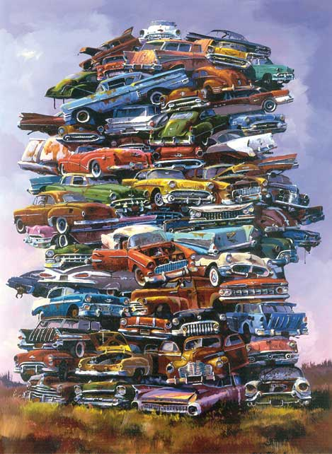 Fifties Junkpile, Dale Klee's Cars Jigsaw Puzzle