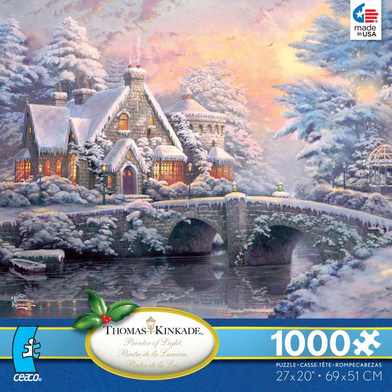 Thomas Kinkade - Winter at Lamplight Manor Jigsaw Puzzle
