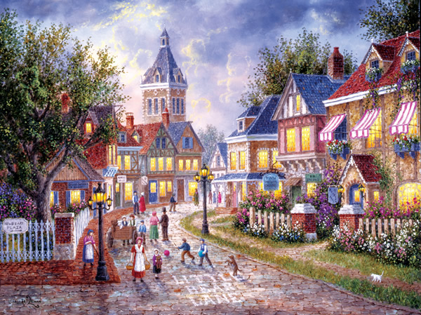 Little Bear Lane Street Scene Jigsaw Puzzle