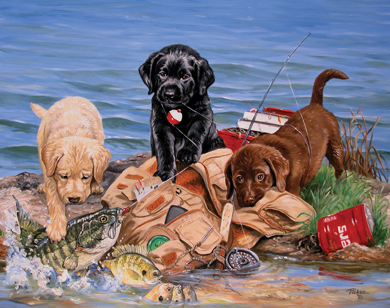 MINI - 3 Little Fishermen Dogs Jigsaw Puzzle