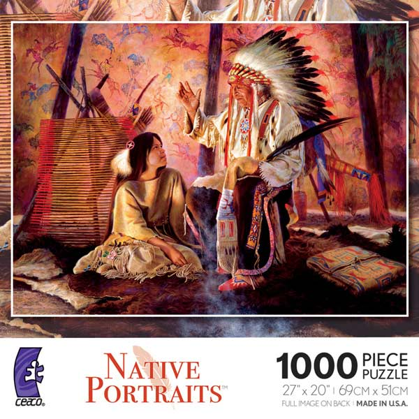Ceaco Native American Portraits Jigsaw Puzzle 1000 pcs with Poster Made in USA