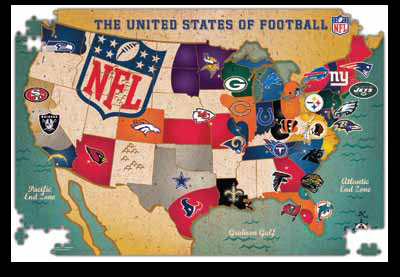 USA Team Map NFL Jigsaw Puzzle PuzzleWarehousecom - Nfl team us map