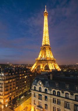 Paris Eiffel Tower Skyline Glow In The Dark Puzzle