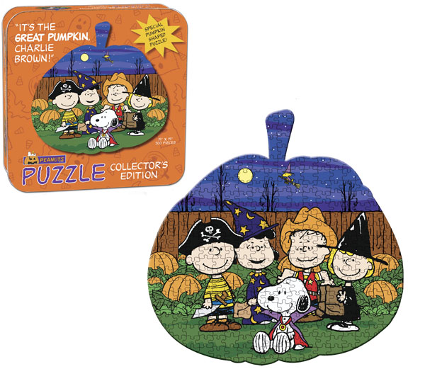 "Peanuts ""It's The Great Pumpkin, Charlie Brown"" Collector's Puzzle Tin Halloween Shaped"