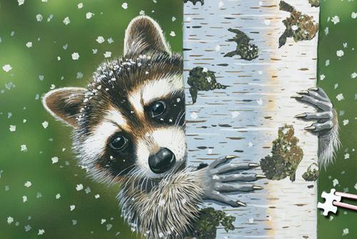 World's Smallest Puzzles - Peekaboo Raccoon Wildlife Jigsaw Puzzle