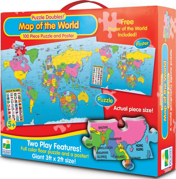 Puzzle Doubles Map of the World w/ Poster Educational Jigsaw Puzzle