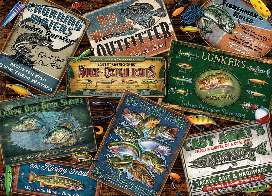 Fish Signs - Scratch and Dent Nostalgic / Retro Jigsaw Puzzle