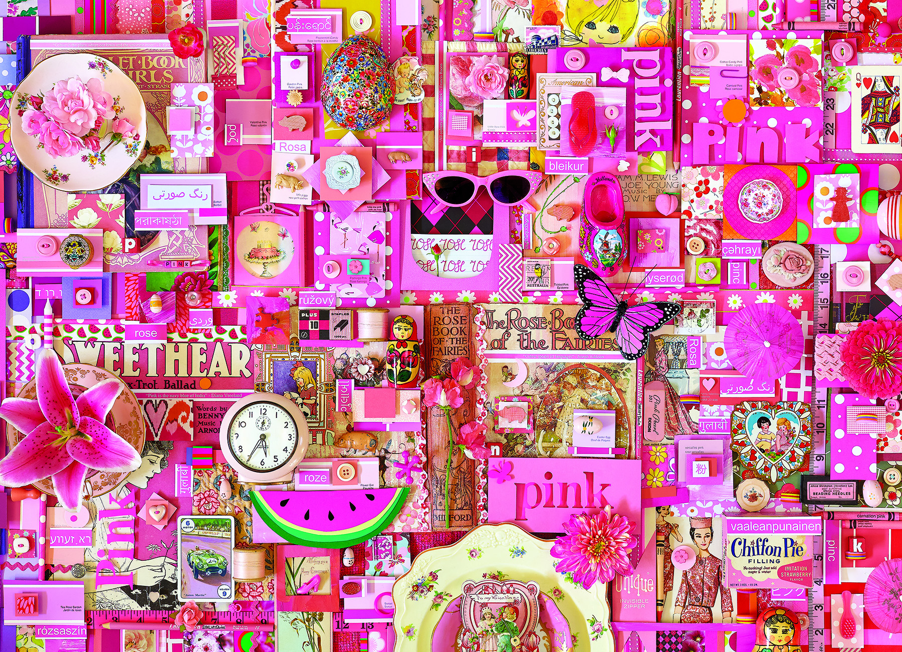 Pink Everyday Objects Jigsaw Puzzle