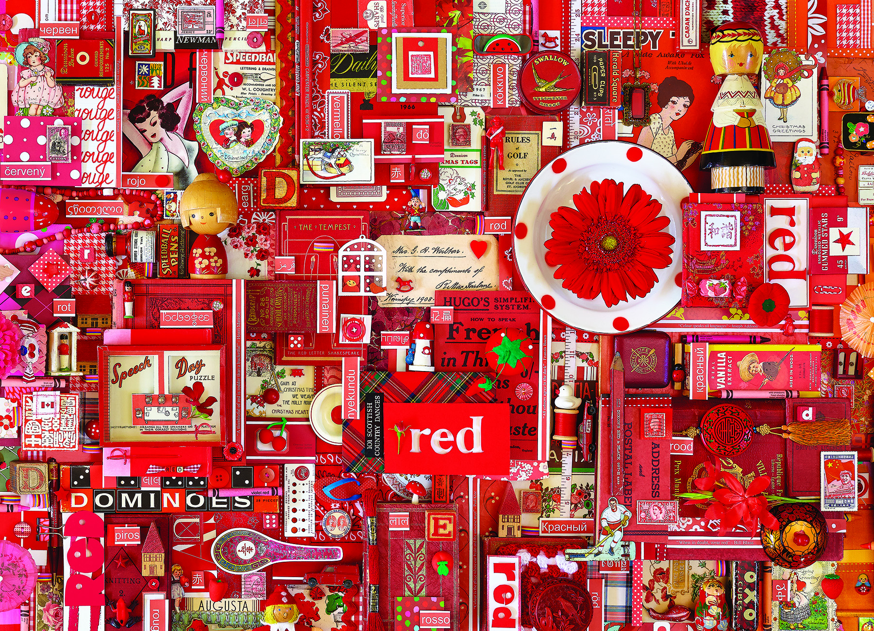 Red - Scratch and Dent Everyday Objects Jigsaw Puzzle