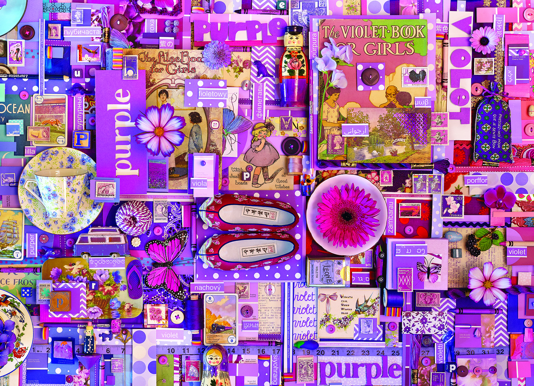 Purple Everyday Objects Jigsaw Puzzle