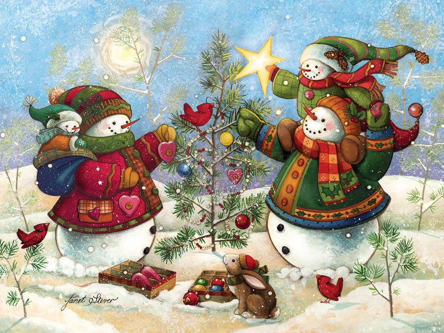Holiday Sparkle Snowman Jigsaw Puzzle