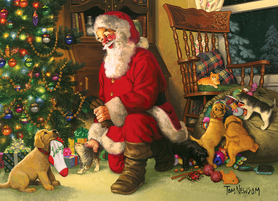 Santa's Lucky Stocking Dogs Jigsaw Puzzle