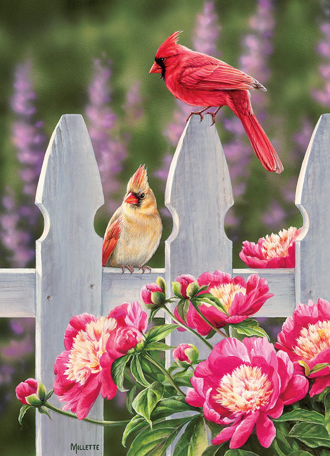 Cardinals and Peonies Birds Jigsaw Puzzle