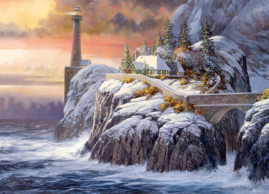Winter Lighthouse Seascape / Coastal Living Jigsaw Puzzle