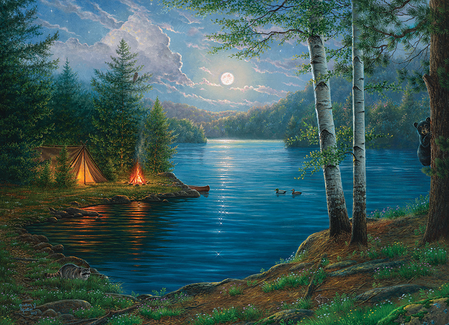 Summer Night Lakes / Rivers / Streams Jigsaw Puzzle