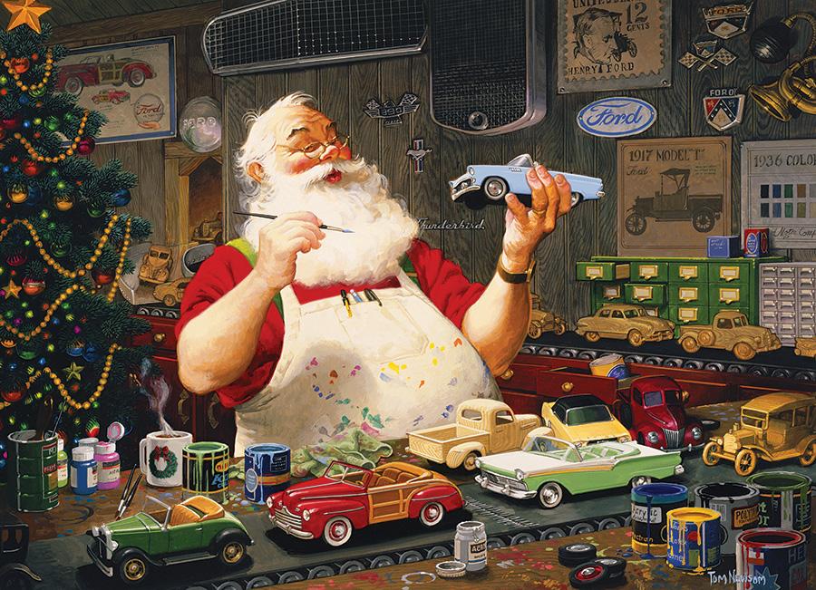 Santa Painting Cars Christmas Jigsaw Puzzle