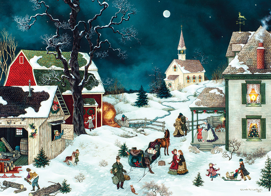 Moonlit Winter Christmas Jigsaw Puzzle