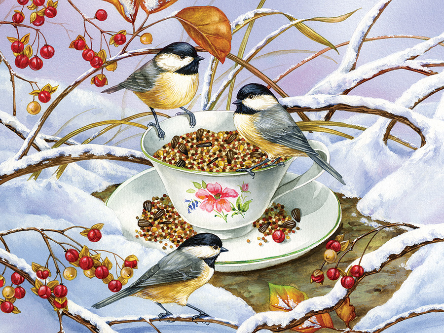 Chickadee Tea Birds Jigsaw Puzzle