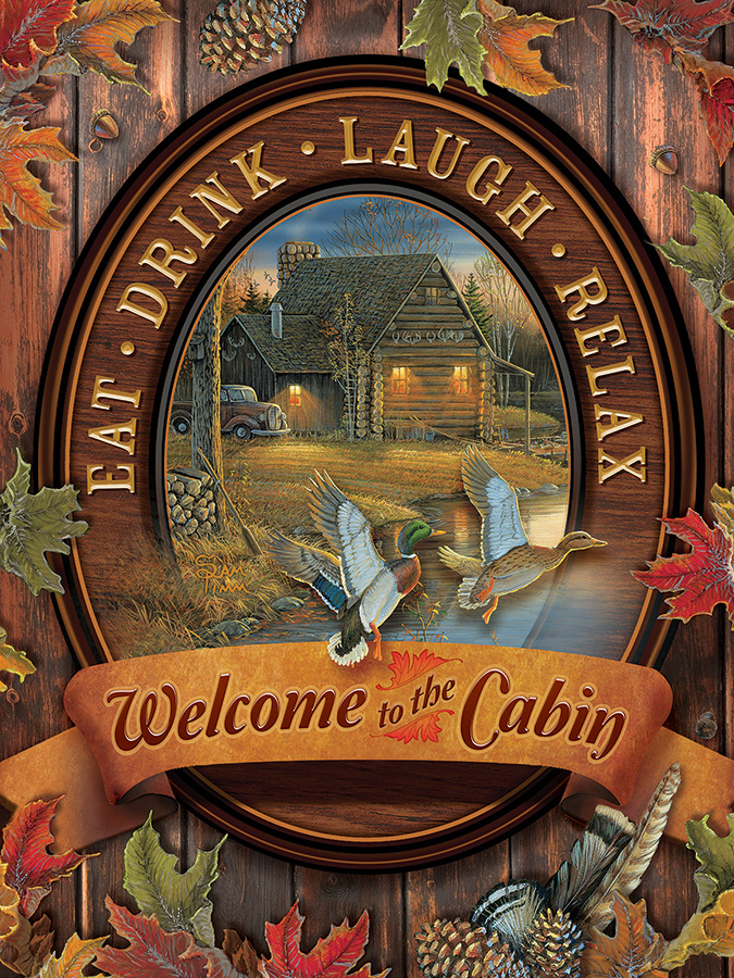 Welcome to the Cabin Cottage / Cabin Jigsaw Puzzle