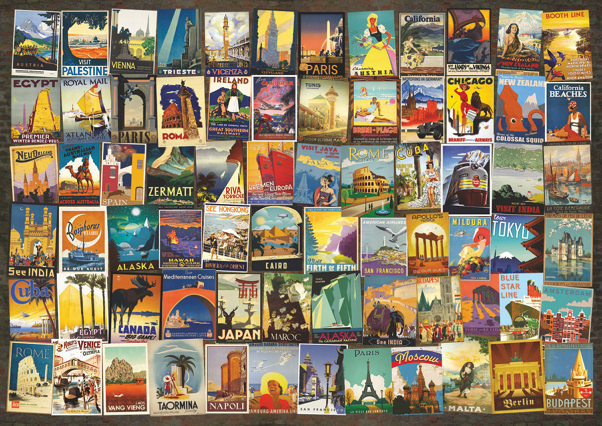 Travel Poster Collage Travel Jigsaw Puzzle