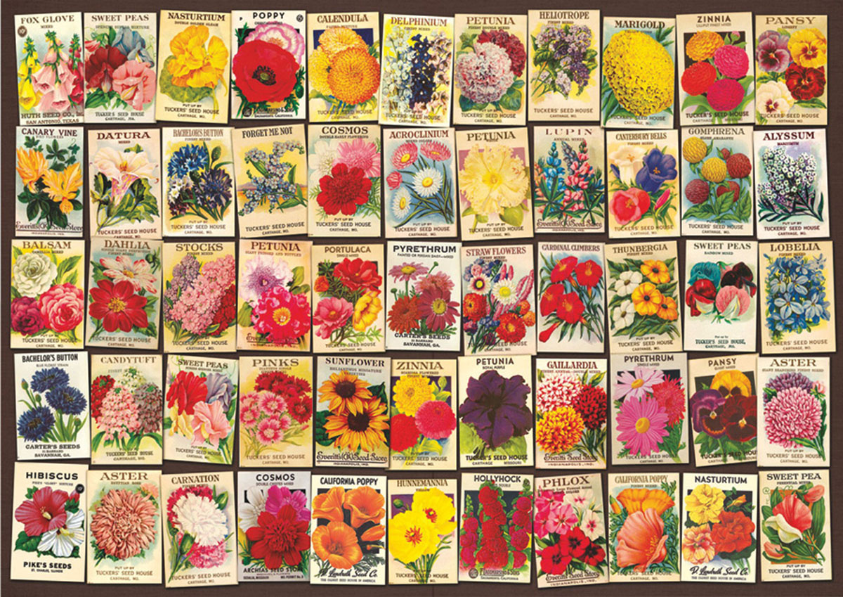 Seed Packet Collage Flowers Jigsaw Puzzle