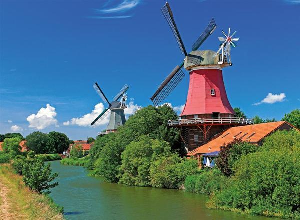 Romantic Windmills Countryside Jigsaw Puzzle