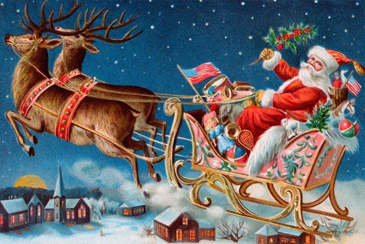 Santa's Flying Sleigh Fine Art