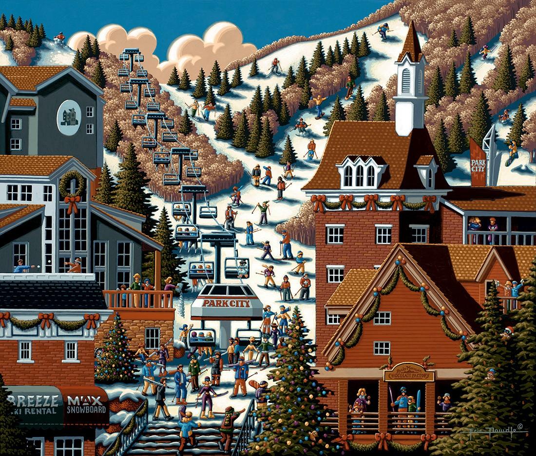 Ski Park City 500 Pieces Dowdle Folk Art Puzzle Warehouse
