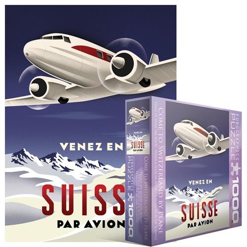 Come to Switzerland by Plane Nostalgic / Retro Jigsaw Puzzle