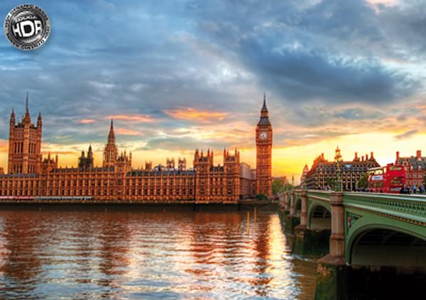 Sunset on the River Thames Bridges Jigsaw Puzzle