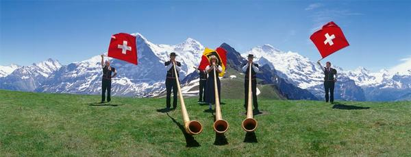 Swiss Flag Wavers Mountains Jigsaw Puzzle