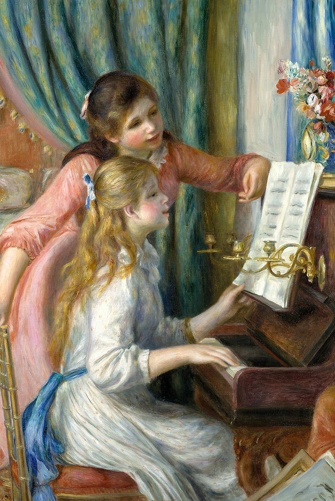 Two Young Girls at the Piano by Pierre-Auguste Renoir Fine Art