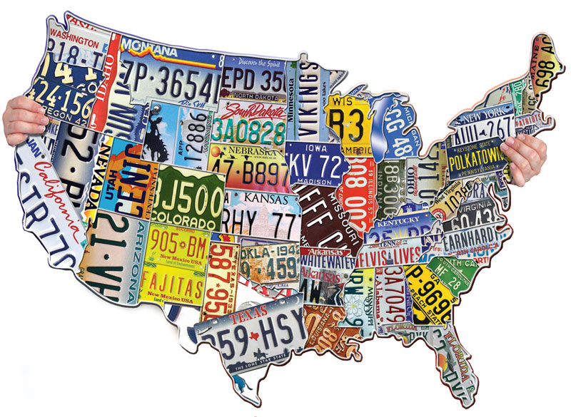 License Plates USA Maps / Geography Shaped Puzzle